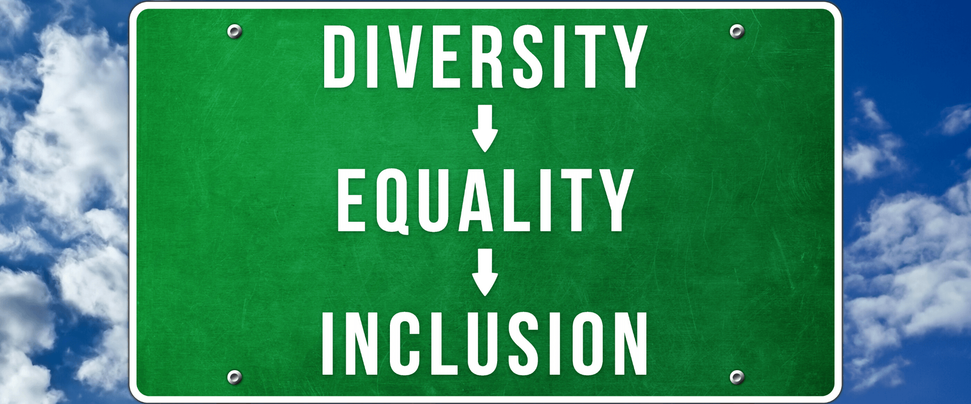 Diversity, Equality, Inclusion sign with sky background