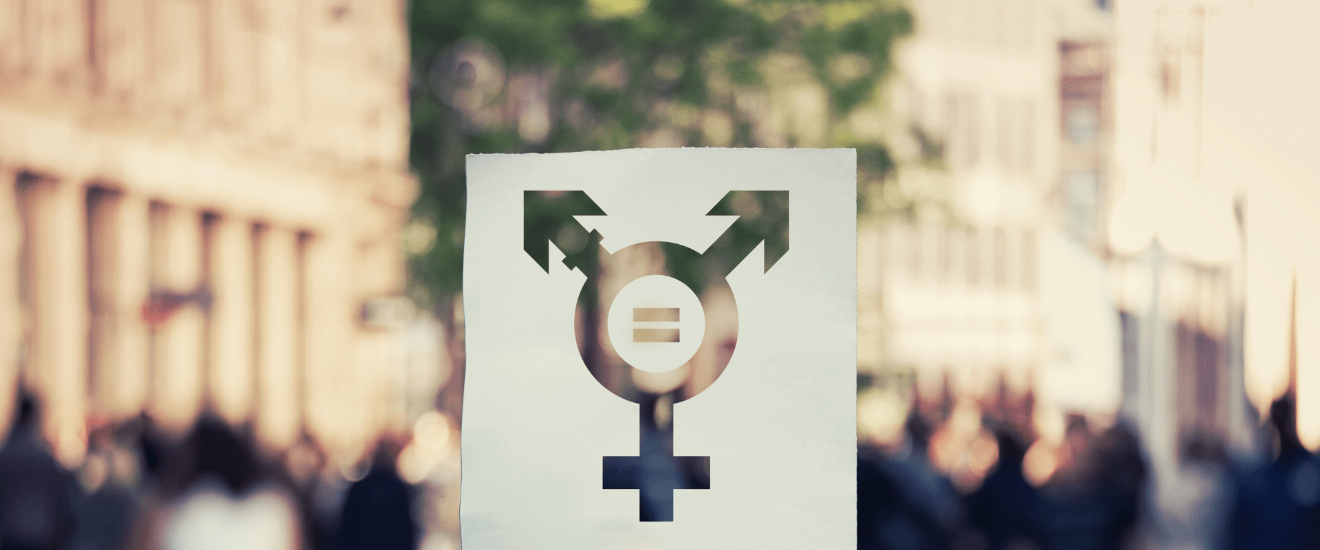 A paper sheet with the transgender symbol and equal sign inside